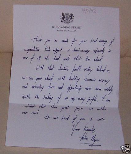 Prime Minister John Major letter 14/5/92